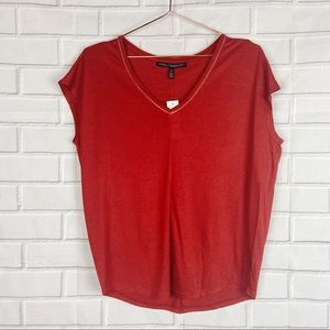 WHBM White House Black Market red V-neck blouse XS